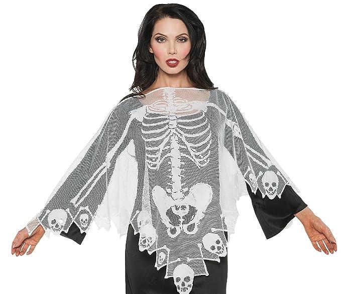 Amazon.com: Underwraps Women\'s Skeleton Lace Poncho, White, One Size ...
