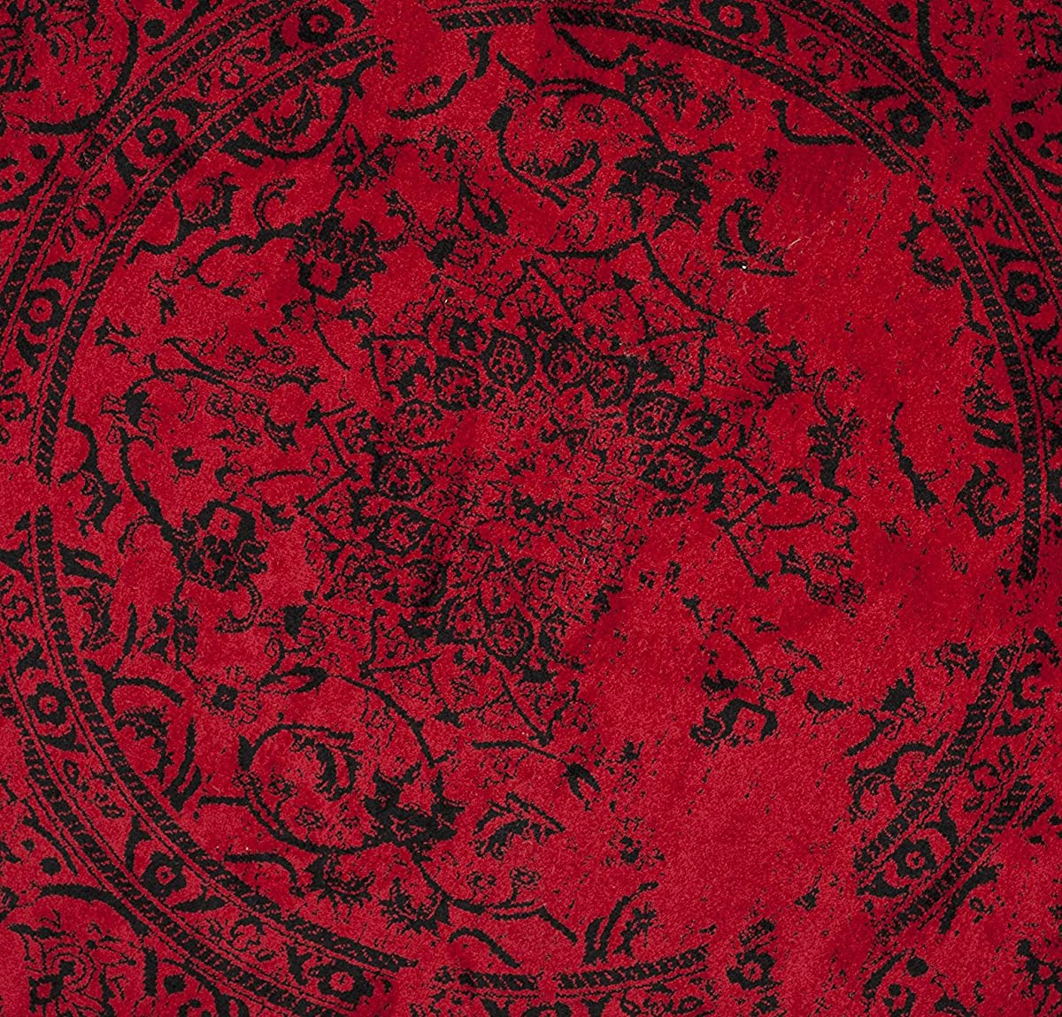 Safavieh Adirondack Collection ADR101F Red and Black Oriental Vintage Distressed Round Area Rug (4 Diameter)