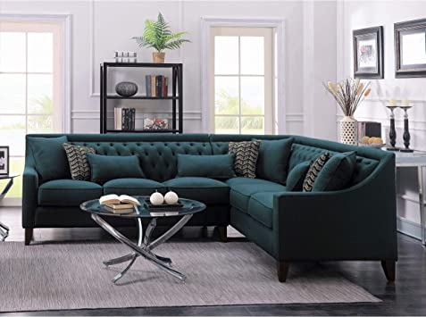 Amazon Com Chic Home Fulla Linen Tufted Back Rest Modern Contemporary Right Facing Sectional Sofa Blue Furniture Decor