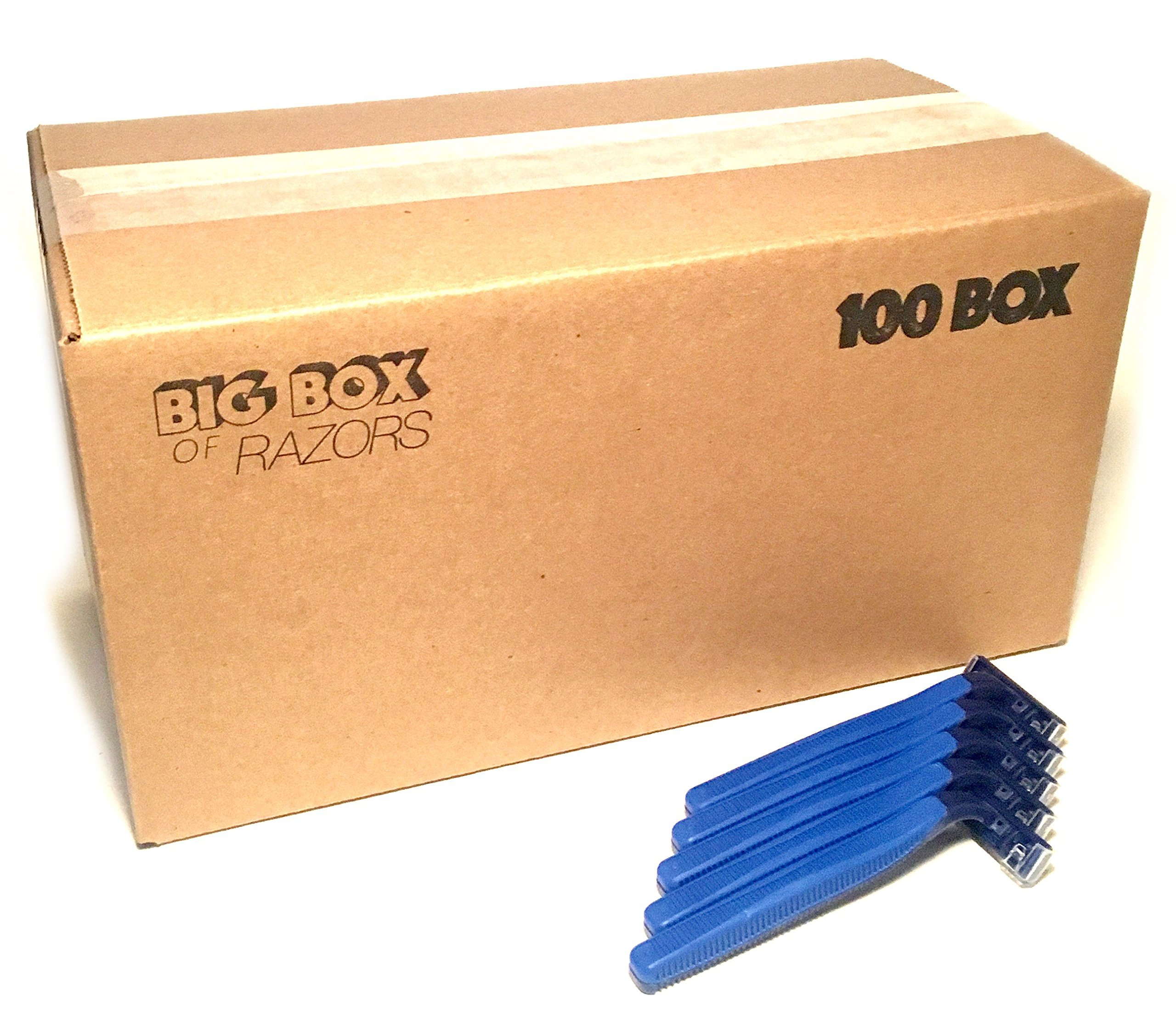 100 Box of Quality Bulk Wholesale Disposable Twin Blade Razors for Men and Women by Big Box of Razors