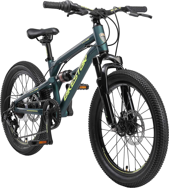 BIKESTAR Bicicleta de montaña de Aluminio Suspensión Doble Bicicleta Juvenil 20 Pulgadas de 6 años   Cambio Shimano de 7 velocidades, Freno de Disco   niños Bicicleta