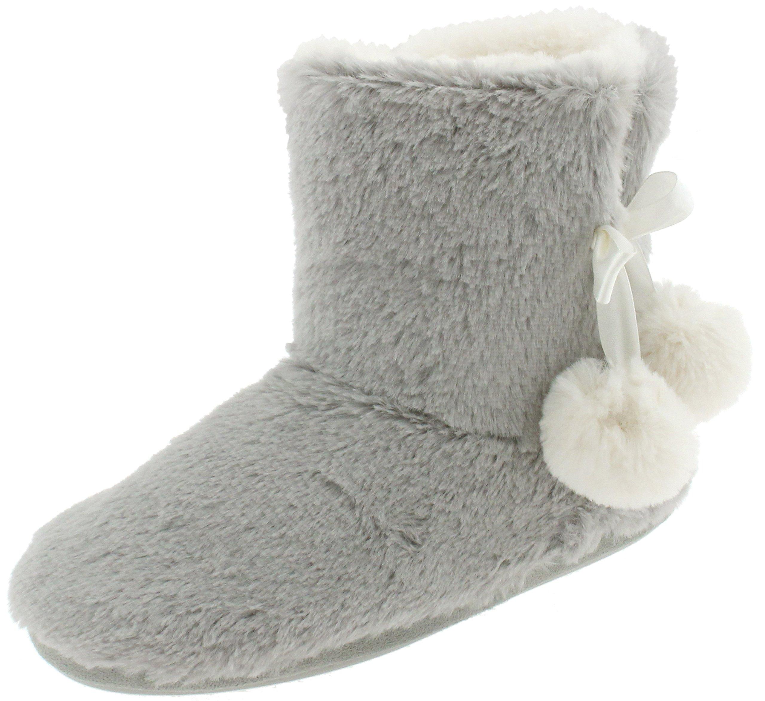 Capelli New York Ladies Long Pile Bunny Fur Boot Grey Heather X-Large