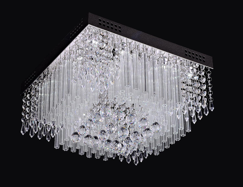 Saint Mossi Chandelier Modern K9 Crystal Raindrop Chandelier Lighting Flush mount LED Ceiling Light Fixture Pendant Lamp for Dining Room Bathroom Bedroom Livingroom 12G9 Bulbs Required H10 X W16 X L16 Saint Home