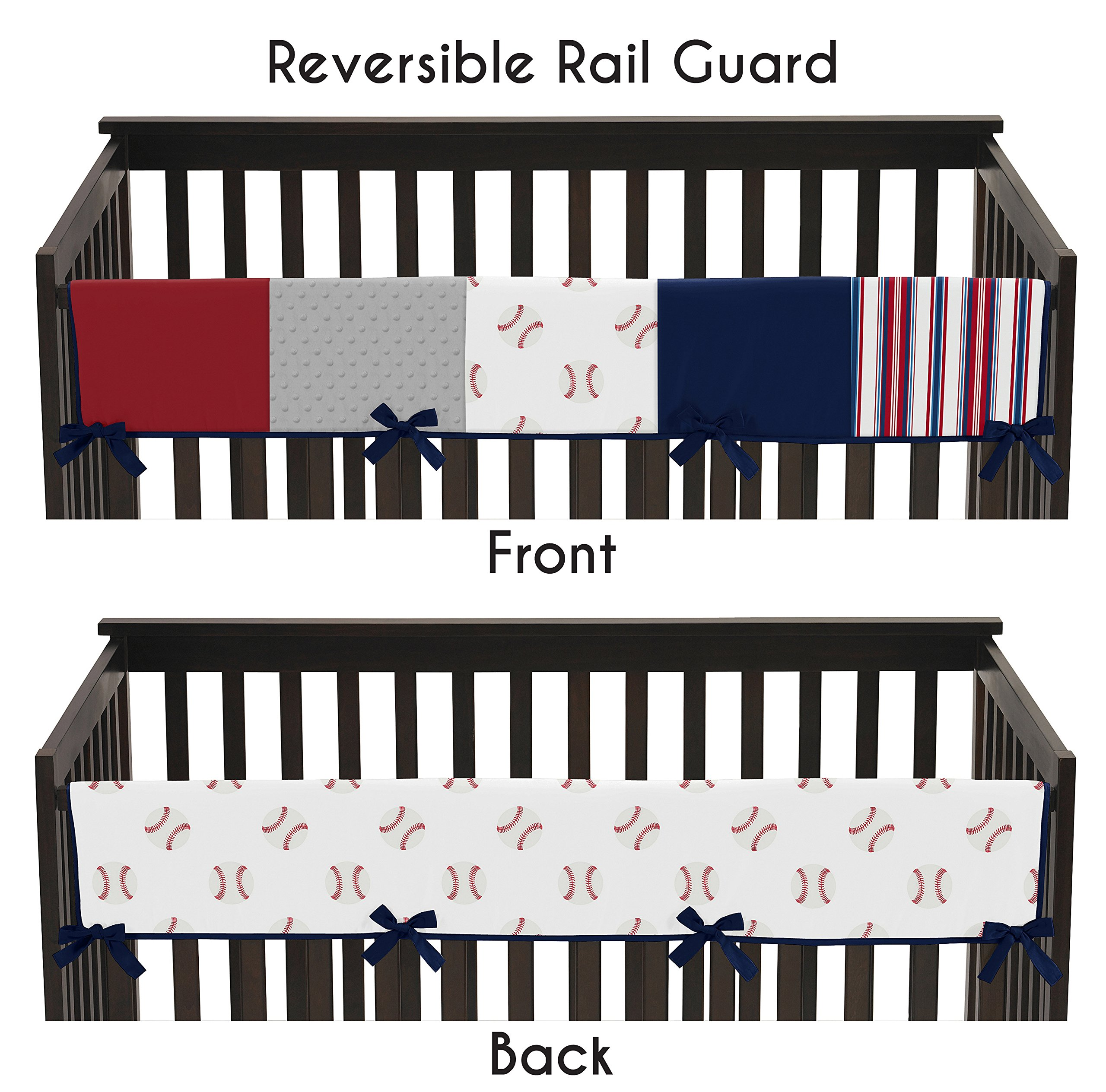 Sweet JoJo Designs Red, White and Blue Long Front Crib Rail Guard Baby Teething Cover Protector Wrap for Baseball Patch Sports Collection - Grey Patchwork Stripe