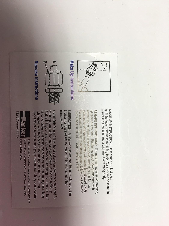 Parker Hannifin 6-6 HBZ-S CPI Steel Union Tube Fitting 3//8 Single Ferrule Tube x 3//8 Single Ferrule Tube