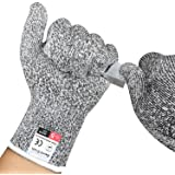 Cut Resistant Gloves,Food Grade EN388 Certified Level 5 Protection Safety Kitchen Work Gloves for Oyster Shucking, Fish Fillet Processing, Mandolin Slicing, Meat Cutting and Wood Carving (1 Pair)