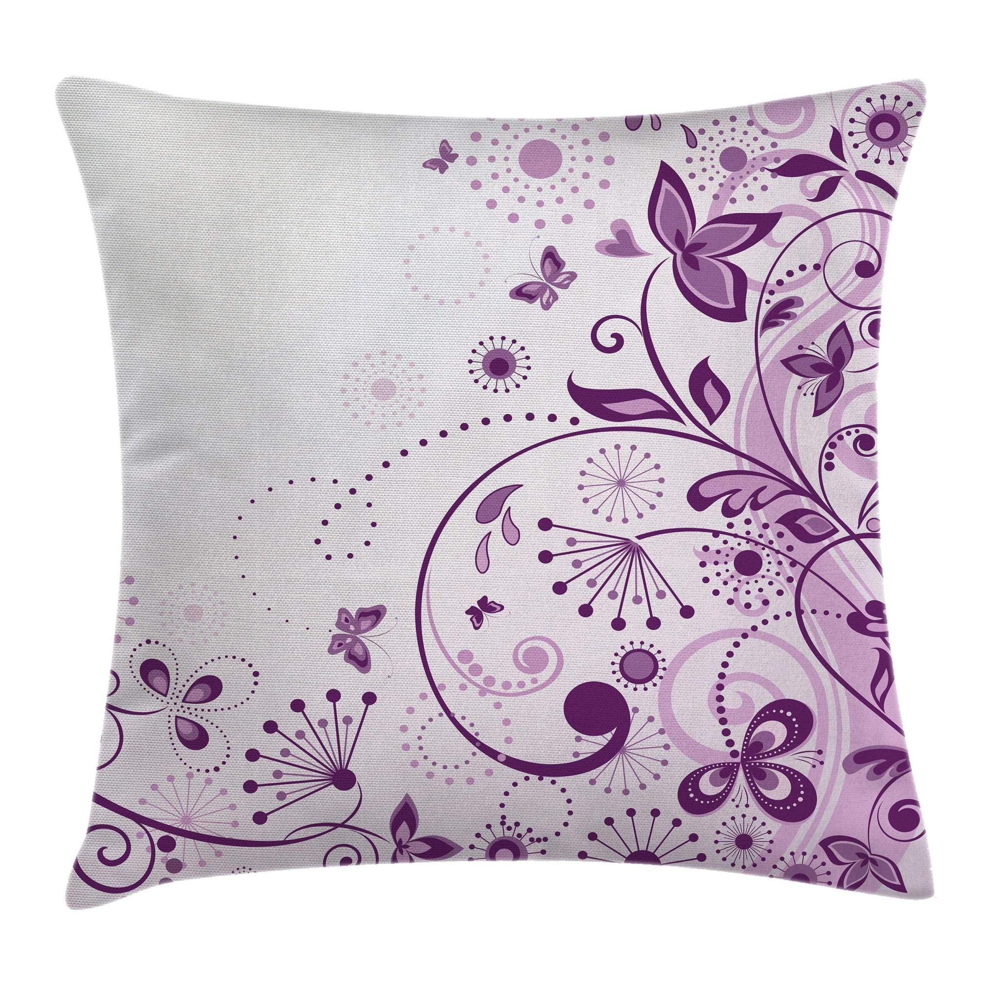 Ambesonne Mauve Decor Throw Pillow Cushion Cover by, Curved Flower Leaf Ornate Blooming Branches Romantic Love Figures Artsy Print, Decorative Square Accent Pillow Case, 18 X 18 Inches, Violet Lilac