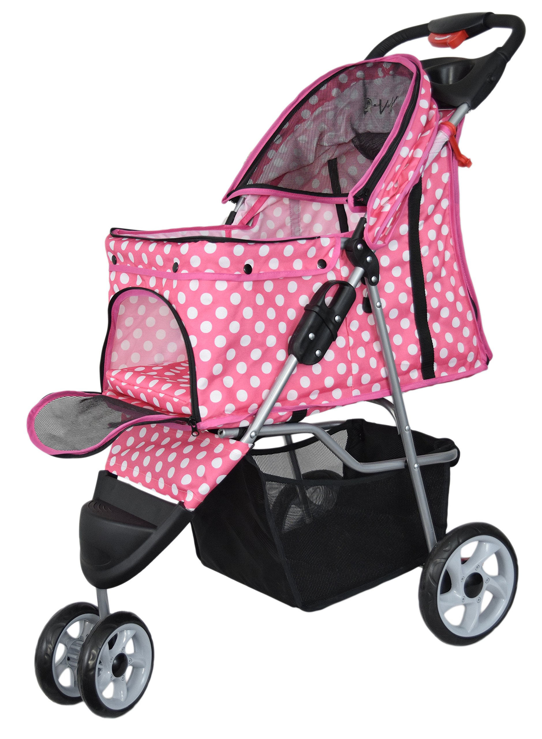 VIVO Three Wheel Pet Stroller, for Cat, Dog and More, Foldable Carrier Strolling Cart, Multiple Colors (Pink & White Polka Dot) by VIVO (Image #4)