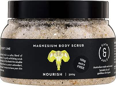 Caim & Able Magnesium Body Scrub 300g NOURISH - Coconut & Australian Desert Lime - Magnesium Sulphate Australian Made & Owned Birthday natural vegan cruelty free not tested on animals