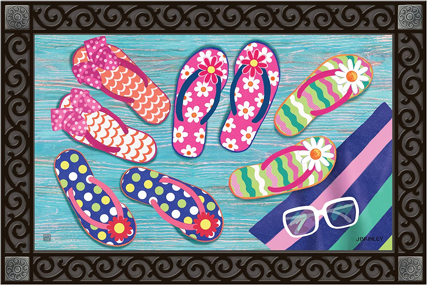 Studio M MatMates Flip Flop Frenzy Decorative Floor Mat Indoor or Outdoor Doormat with Eco-Friendly Recycled Rubber Backing, 18 x 30 Inches