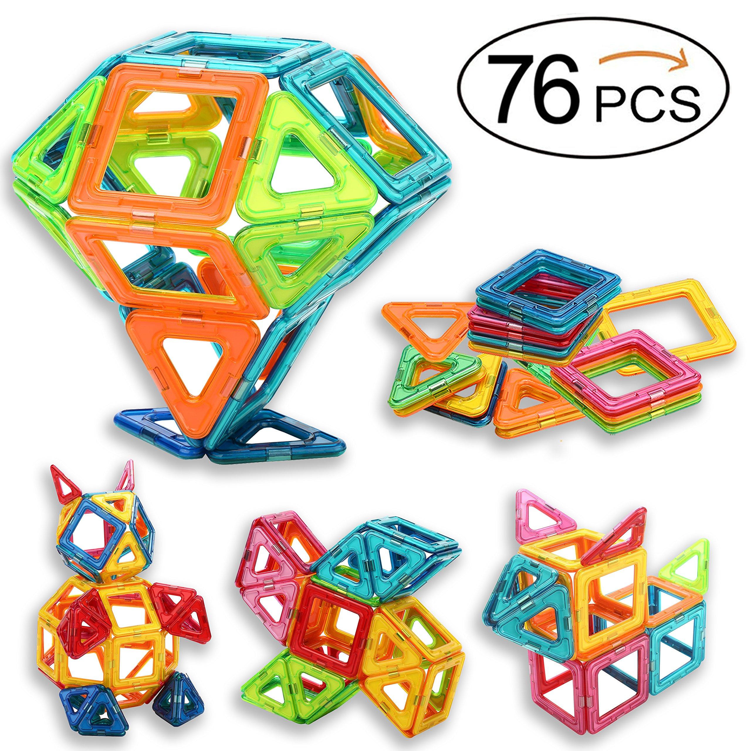 Sunwing Magnetic Building Blocks 76PCS Magnet Toy Set for kids, Magnets Tiles STEM Toys for Boys and Girls