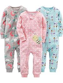 Simple Joys by Carter's baby-girls 3-pack Snug-fit Footless Cotton Pajamas Pajama Set