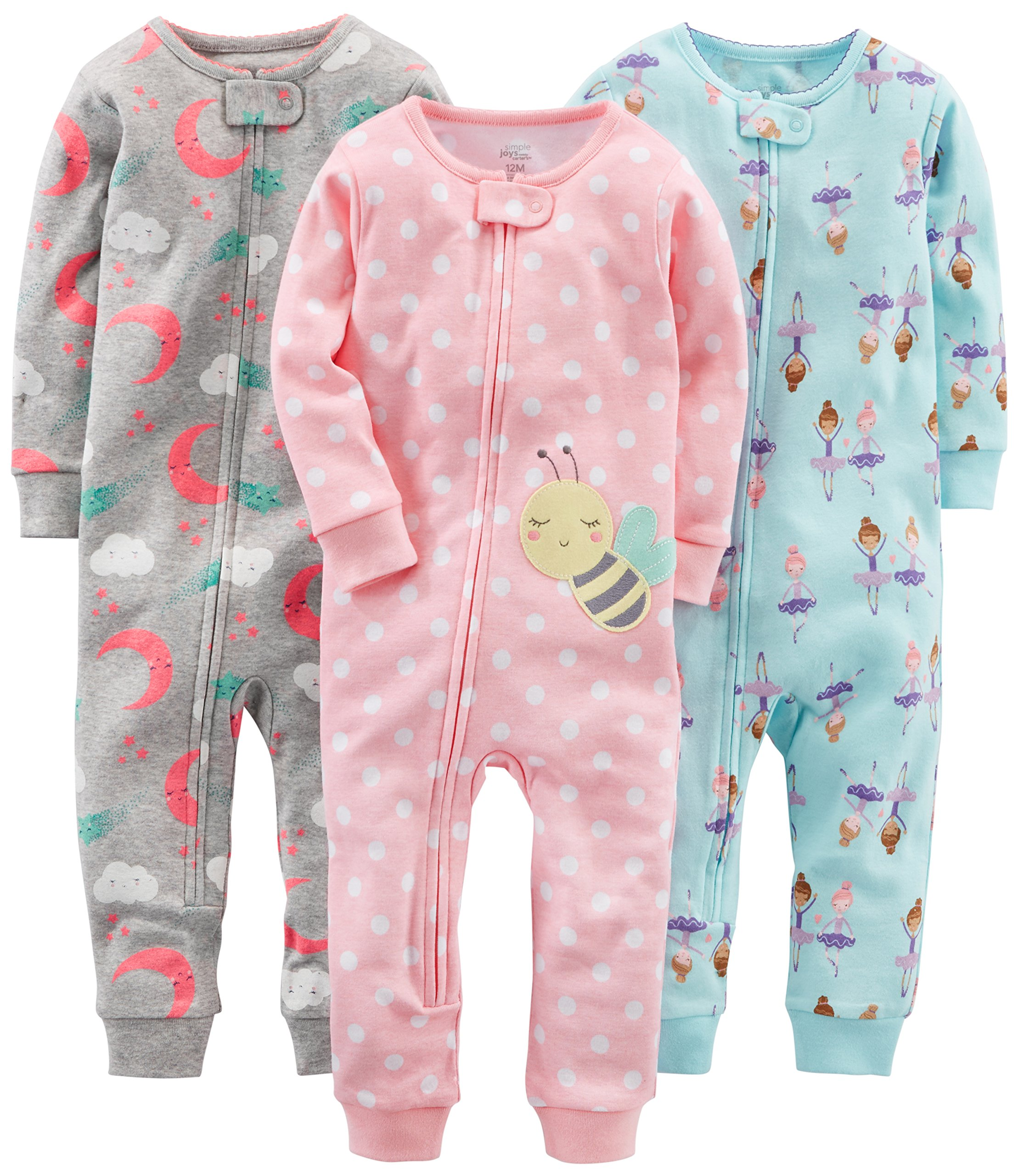 Simple Joys by Carter's Baby Girls' Toddler 3-Pack Snug Fit Footless Cotton Pajamas, Ballerina/Moon/Bee, 2T