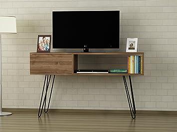 Alphamoebel TV Board Lowboard Fernsehtisch Fernsehschrank Sideboard,  Fernseh Schrank Tisch mit Metallfüßen für Wohnzimmer I Walnuss I Lara4811 I  120 x ...