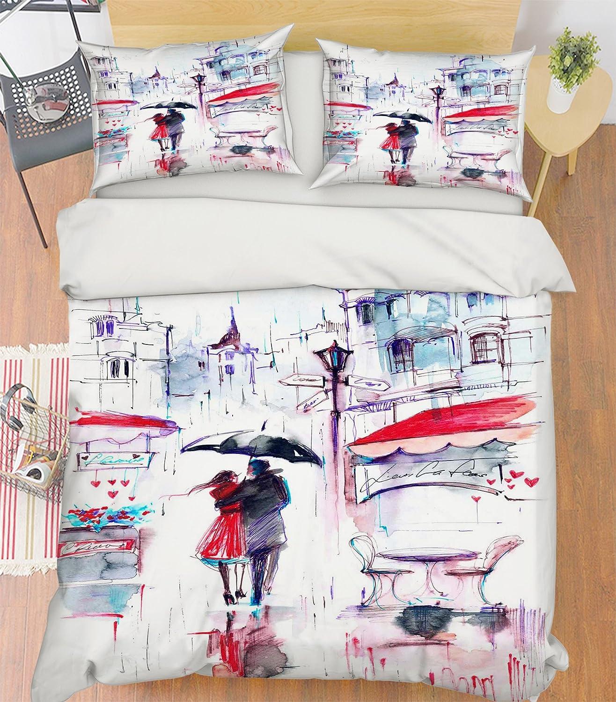 3D 油絵 雨の日 若い女の子 5775 寝具枕カバーキルト羽毛布団カバーセットシングルクイーンキング  3D写真の寝具 Kyra (フル) B07C4HZ2D2 フル フル