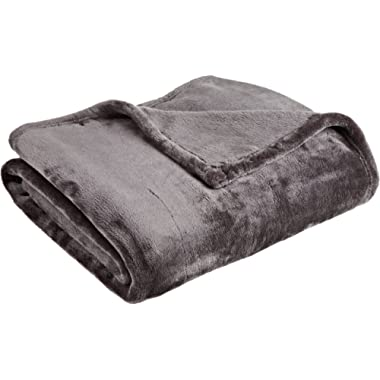 Northpoint Cashmere Plush Velvet Throw, Charcoal