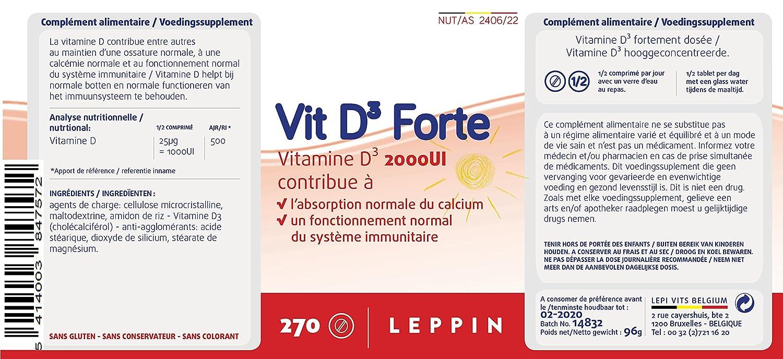 D3 Forte 2000ui 270 pastillas - Vitamina D Ultra concentrée - Inmunidad & ossature - Suplemento naturales: Amazon.es: Salud y cuidado personal