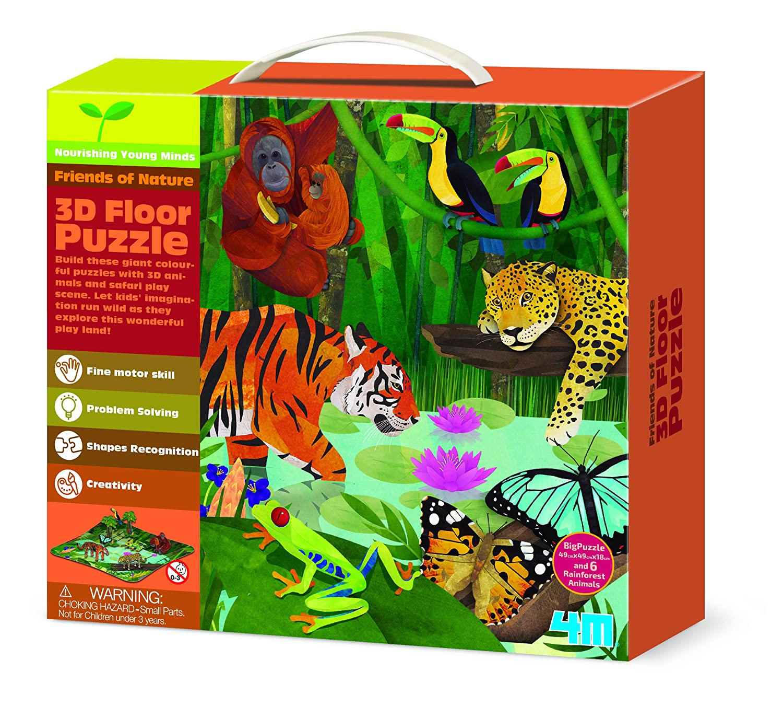 JJays Store Rainy Day Idea Fun Jigsaws Present Idea Age 4+ 3D Floor Puzzles - Rainforest