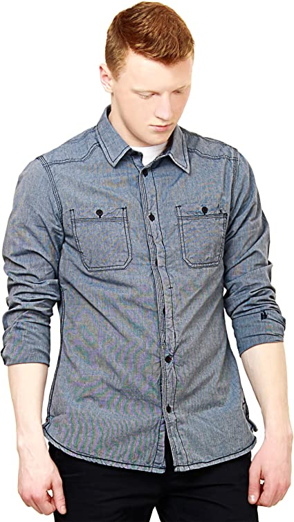 Garcia Jeans - Camisa casual - Button Down - con botones - Manga Larga - para hombre Azul Cambray Medium: Amazon.es: Ropa y accesorios