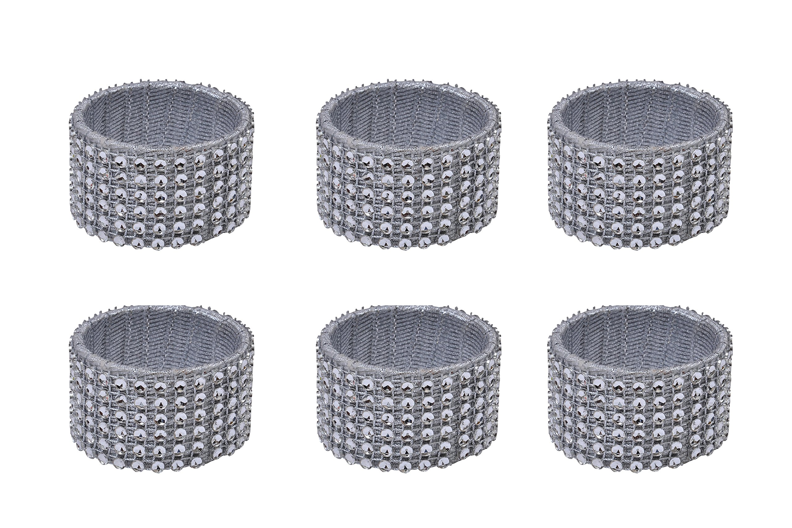 Yourtablecloth Napkin Rings or Napkin Holders – Enhanced & Appealing Table Décor for Weddings, Parties, Christmas, New Year or Every Day Use – Diamond Napkin Rings – Set of 6