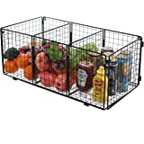 3 Compartment Wall Mountable Metal Wire Mesh Organizing Storage Basket, Black