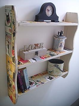 Woodiquechic 70 cm de Alto Shabby Chic Vintage Gatos Kitchen estantes, estantes de baño, Dormitorio estantes, Estante, estantería: Amazon.es: Hogar