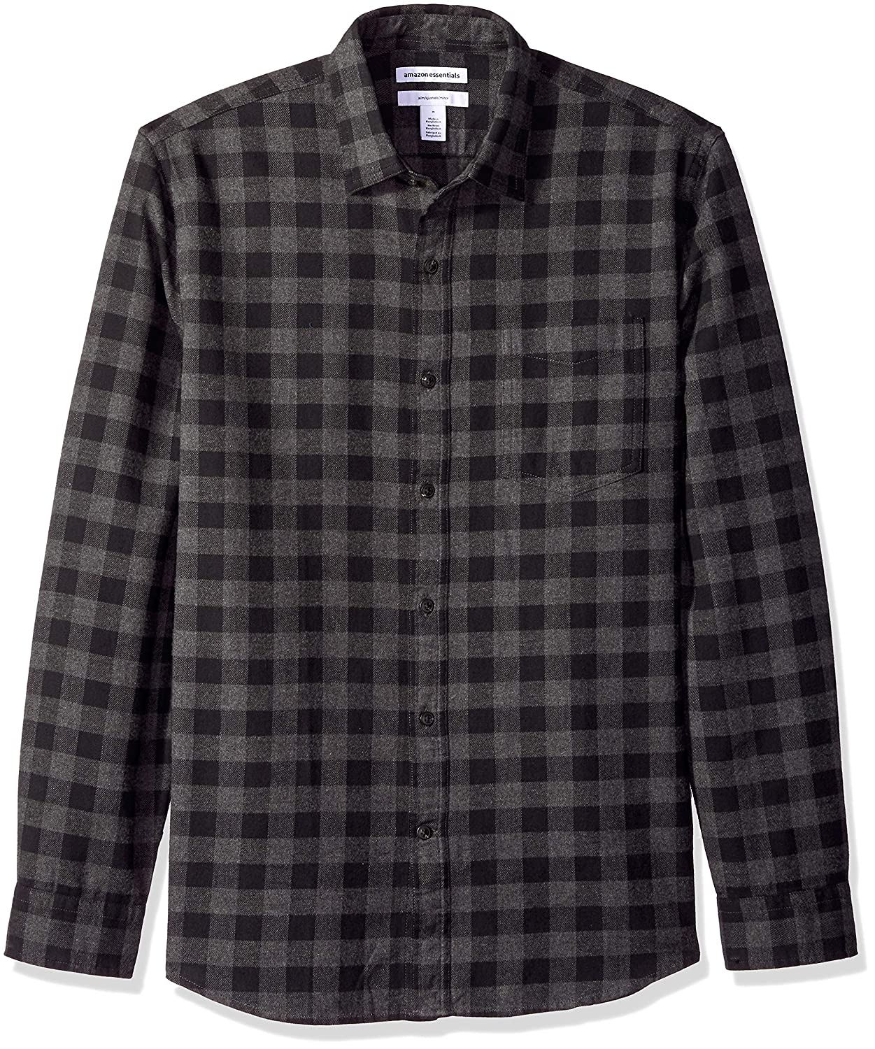TALLA US XS (EU XS). Amazon Essentials Slim-fit Long-sleeve Plaid Flannel Shirt, Camisa abotonada para Hombre