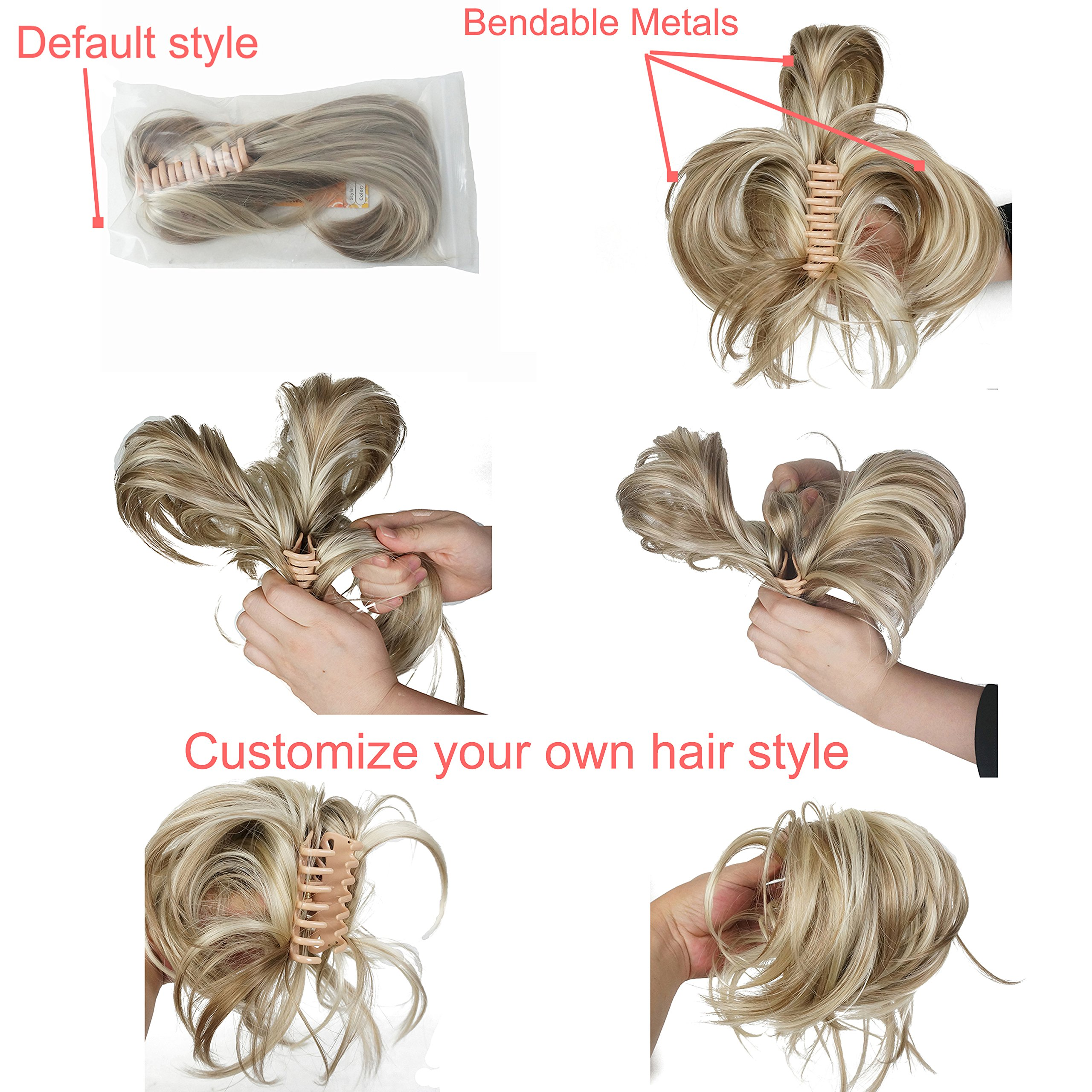 Lydell Adjustable Messy Style Ponytail Hair Extension Synthetic Hairpiece with Jaw Claw Amzing Shape For You #AB461 Brown Highlighted by Lydell
