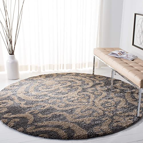 Safavieh Florida Shag Collection SG462-8013 Damask Textured 1.18-inch Thick Area Rug