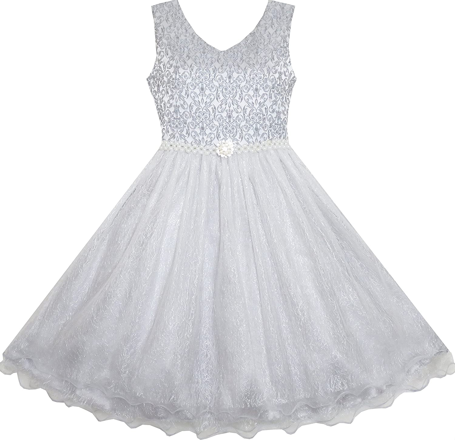 be6f395c7 Amazon.com  Sunny Fashion Flower Girl Dress Sparkling Pearl Belt ...
