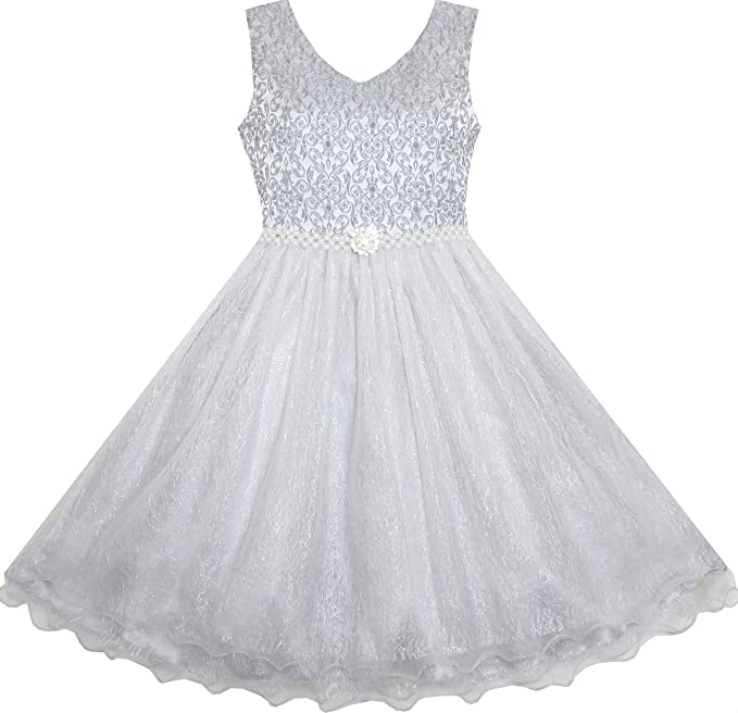 Amazon sunny fashion flower girl dress sparkling pearl belt sunny fashion je71 flower girl dress sparkling pearl belt gray wedding bridesmaid pageant size 3 mightylinksfo