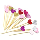 PuTwo 20 Counts 6 Colors Peach Heart Cake decoration Party Supplies Cupcake Toppers - 6 Colors