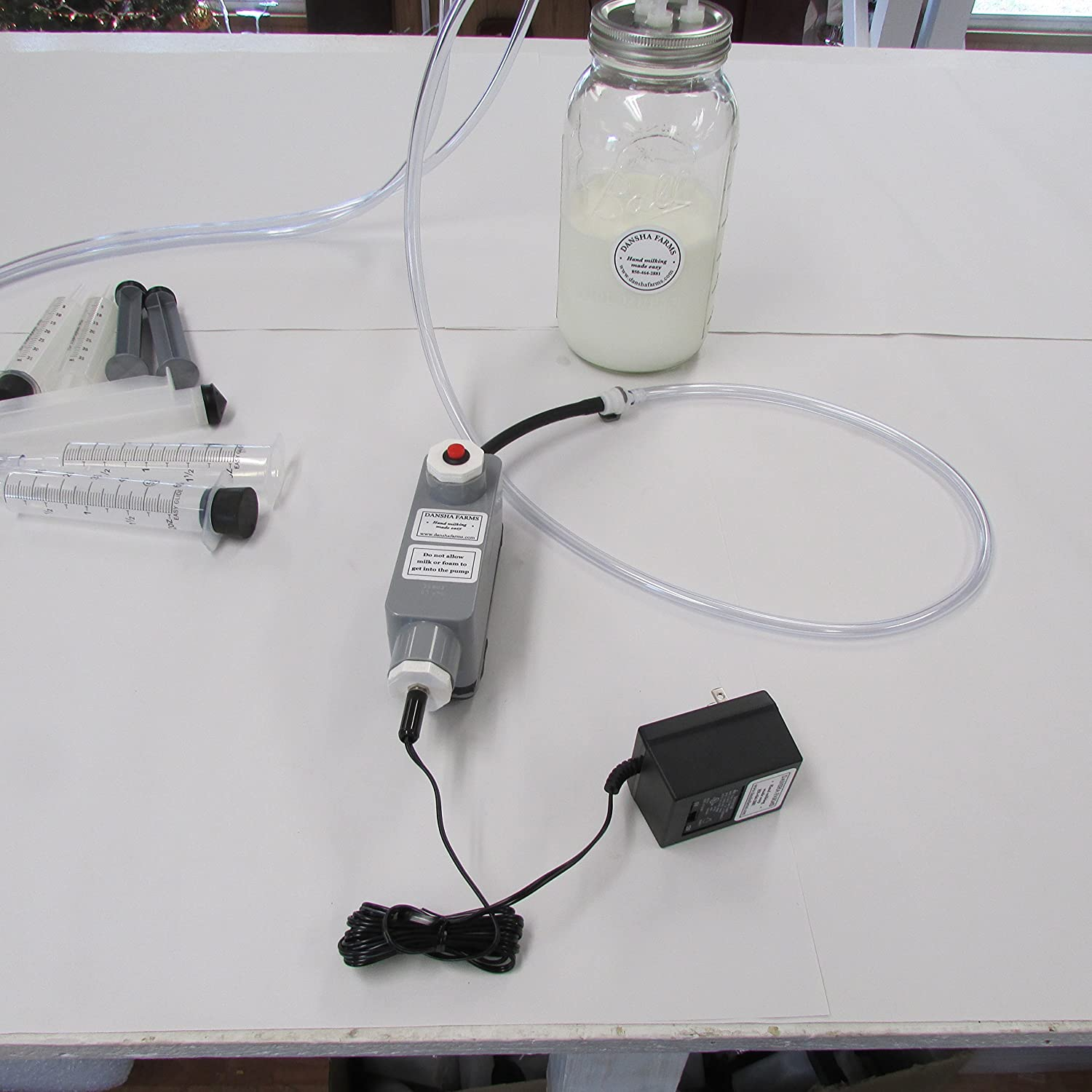 Milk Machine Vacuum-Manual Pulse 1/2 Gallon 2 Teat Goat Sheep Cow 12 Volt with Power Supply Patent US9,635,830 B2