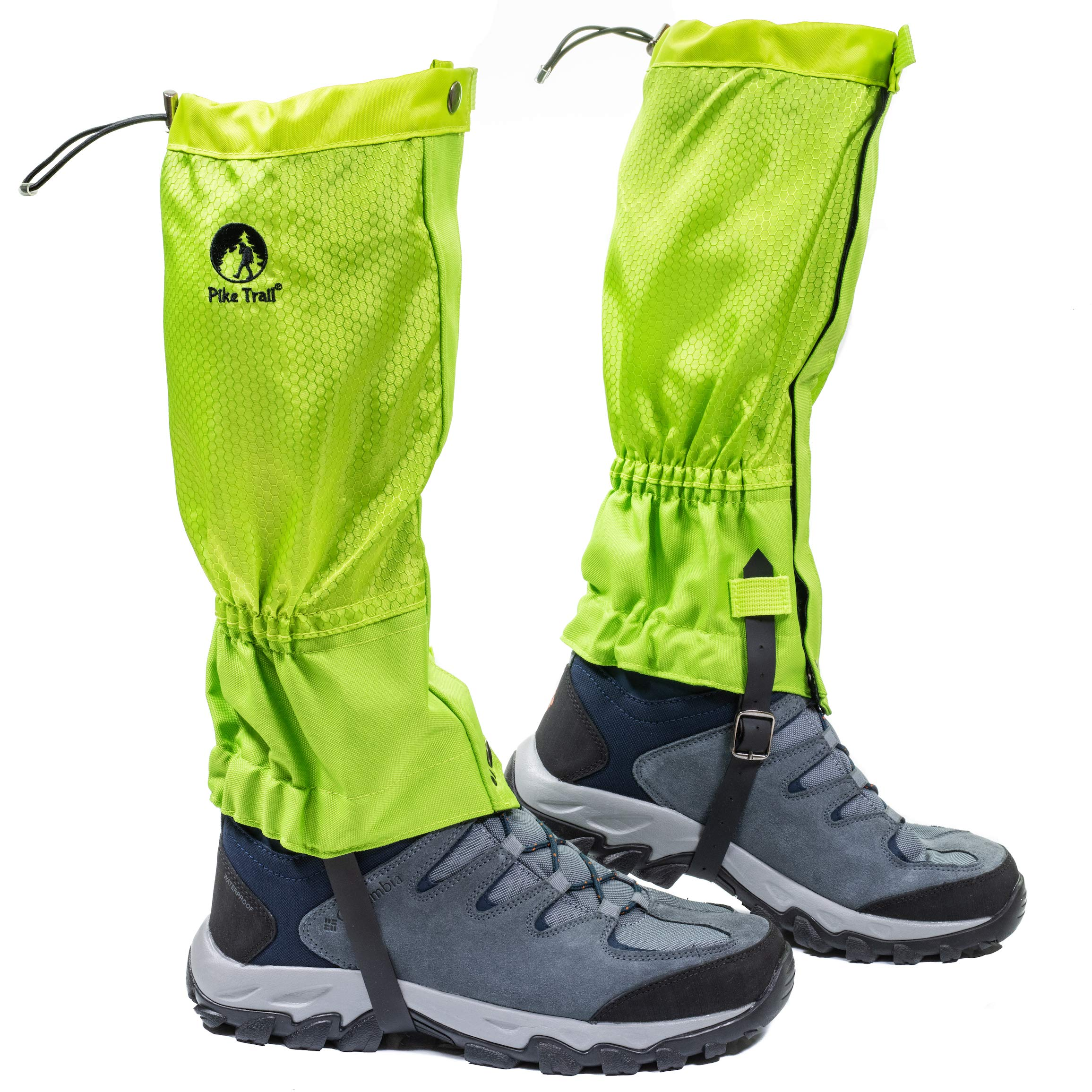 Pike Trail Leg Gaiters - Waterproof and Adjustable Snow Boot Gaiters for Hiking, Walking, Hunting, Mountain Climbing and Snowshoeing (Neon Green) by Pike Trail