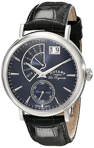 Rotary Watches gs90085/05 - Reloj para Hombres, Correa de Cuero Color Negro: Amazon.es: Relojes