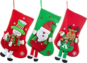 FAVONIR Christmas Felt Stocking Tree Ornaments 3 Pack - 14 Inch Holiday Décor - Santa, Snowman and Reindeer Character Designs – Xmas Decorations