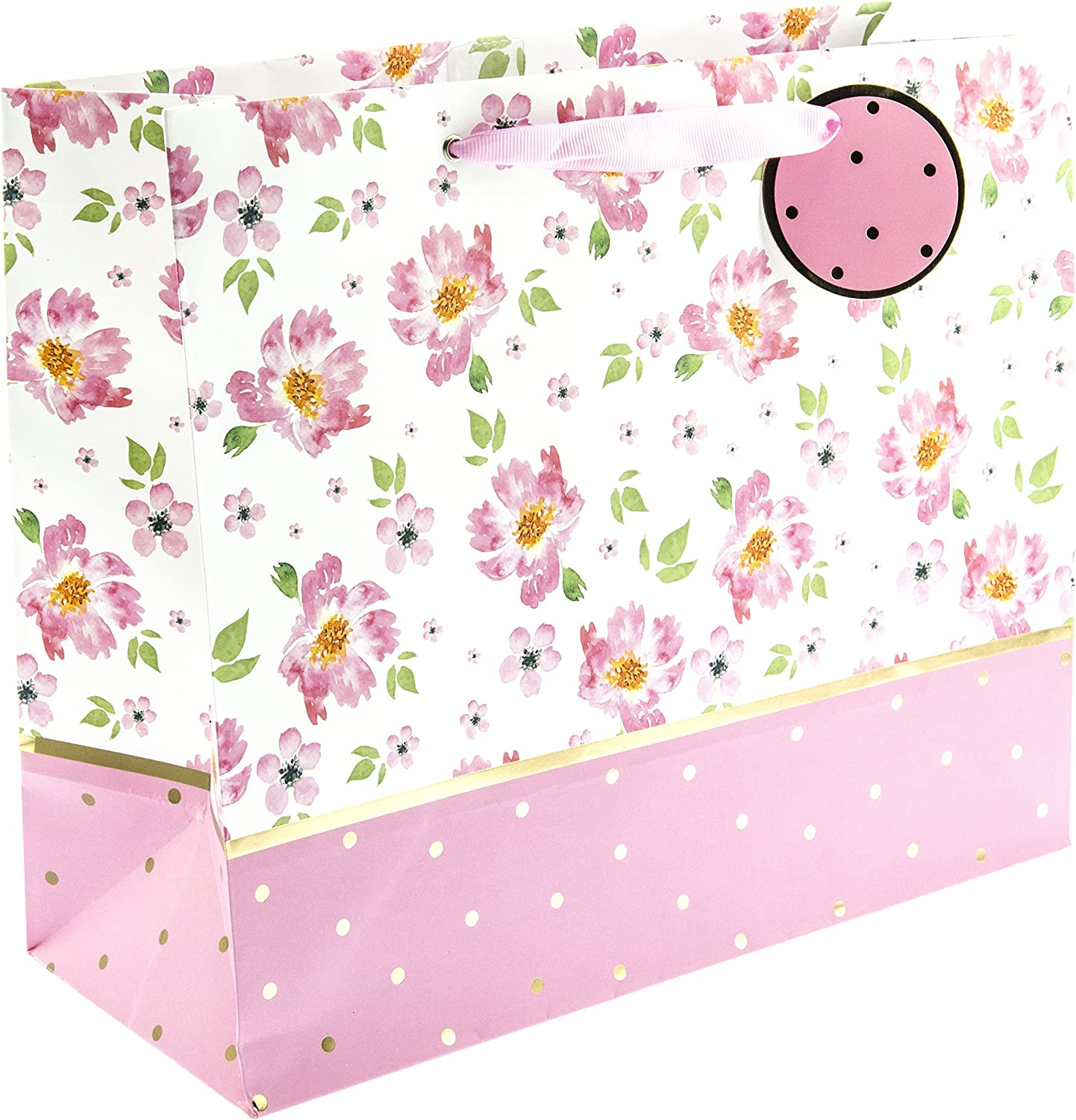 Graphique Animals Large Gift Bag Cute Animal-Patterned Gift Bag Embellished with Glitter Includes Grosgrain Pink Ribbon Handles and Coordinating Gift Tag 12.5 x 10.5