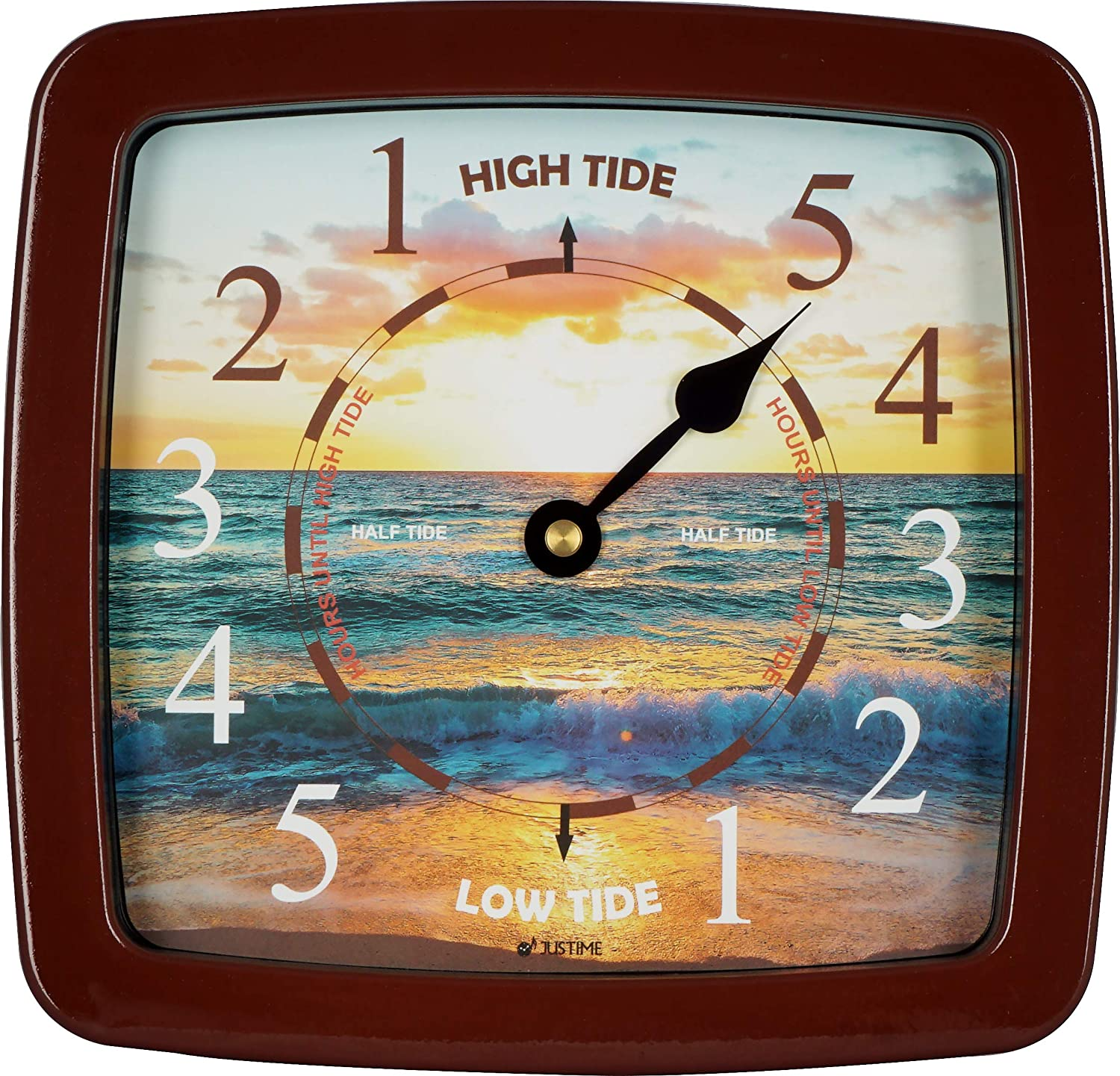 8.5 Inch Tide Clock Colorful Digital Graphics Designed, Quality Plastic Water Resistant Case, Home Wall Décor (TT421BR Sunset Brown)