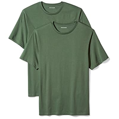 Essentials Men's 2-Pack Loose-Fit Short-Sleeve Crewneck T-Shirts, Dark Green, XX-Large: Clothing