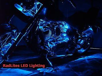 JoeFlorida 90 LED Single Color Motorcycle LED Neon Kit Select Color Orange 10 Strips and Installation Kit