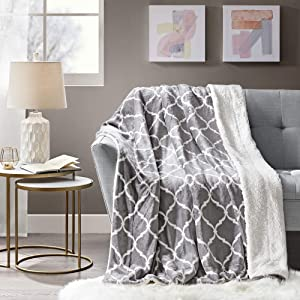 Comfort Spaces Sherpa to Plush Blanket Ultra Soft and Cozy Throws 50 x 60 for Couch, Bed, 50x60, Ogee Grey