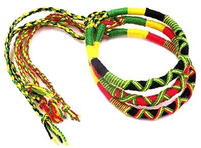 44bd7f0f602f97 Lot de 3 Bracelet brésilien Amitié coton Friendship Coton Macramé Porte  Bonheur rasta reggae jamaique bob