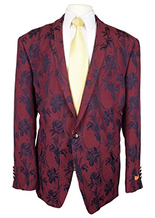 5826bd943595 Tallia Men One Button Shawl Lapel Textured Floral Sport Coat Jacket 42S Red