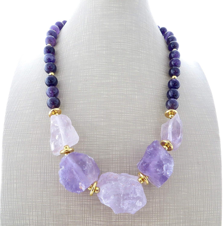 Collar de amatista lavanda y viola, collar de piedras semi preciosas, joyas rusticas, joyas contemporaneas, joyas para mujer
