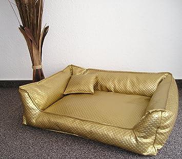 Cama para perros Perros sofá Dormir Espacio piel sintética Metallica aprox. 80 cm x 60 cm Oro: Amazon.es: Productos para mascotas