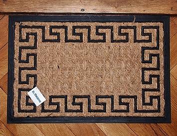 Fußmatte Sisal fußmatte mäander griech muster gummi sisal 60 x 40cm
