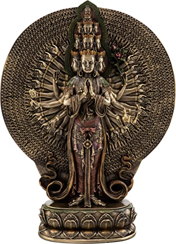 Top Collection Thousand Armed Quan Yin Statue- Buddhist Goddess of Mercy and Compassion Sculpture in Premium Cold Cast Bronze- 12-Inch Collectible Kwan Yin Figurine