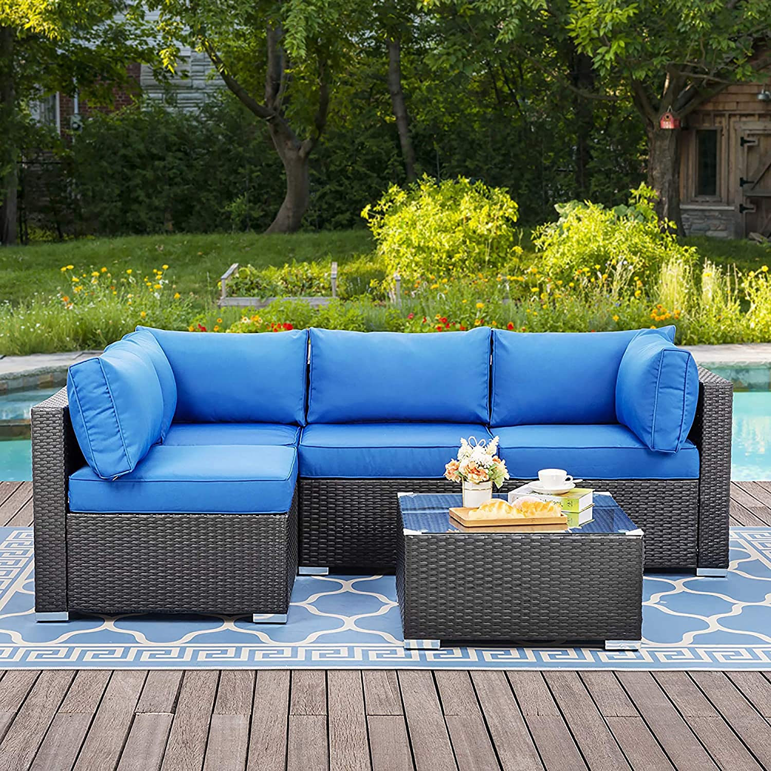 Walsunny Outdoor Black Rattan Sectional Sofa- Patio Wicker Furniture Set Conversation Sets with Tea Table&Washable Couch Cushions (Navy Blue)