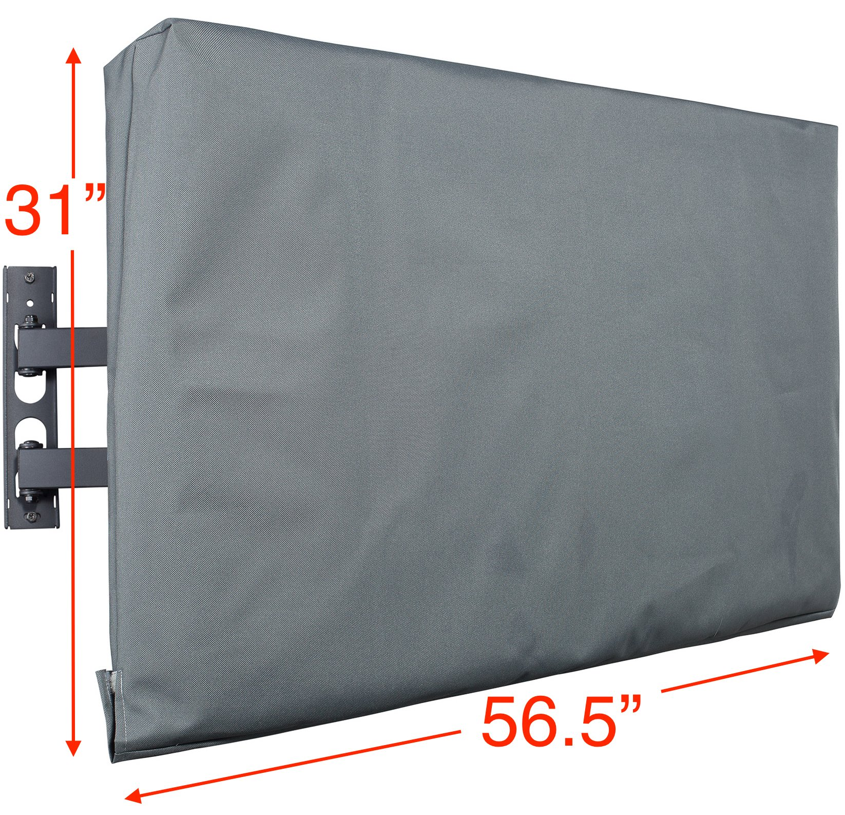 Kuzy Outdoor TV Cover 55 inch, Outdoor TV Covers Weatherproof for 55 inch Flat Screen TV - Fits Most Wall TV Mount, Hand Made in USA - Gray by Kuzy