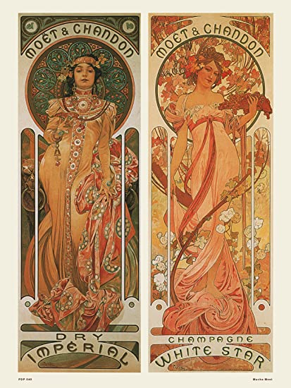Art nouveau Poster Art Print by Alphonse Mucha Moet Amazon